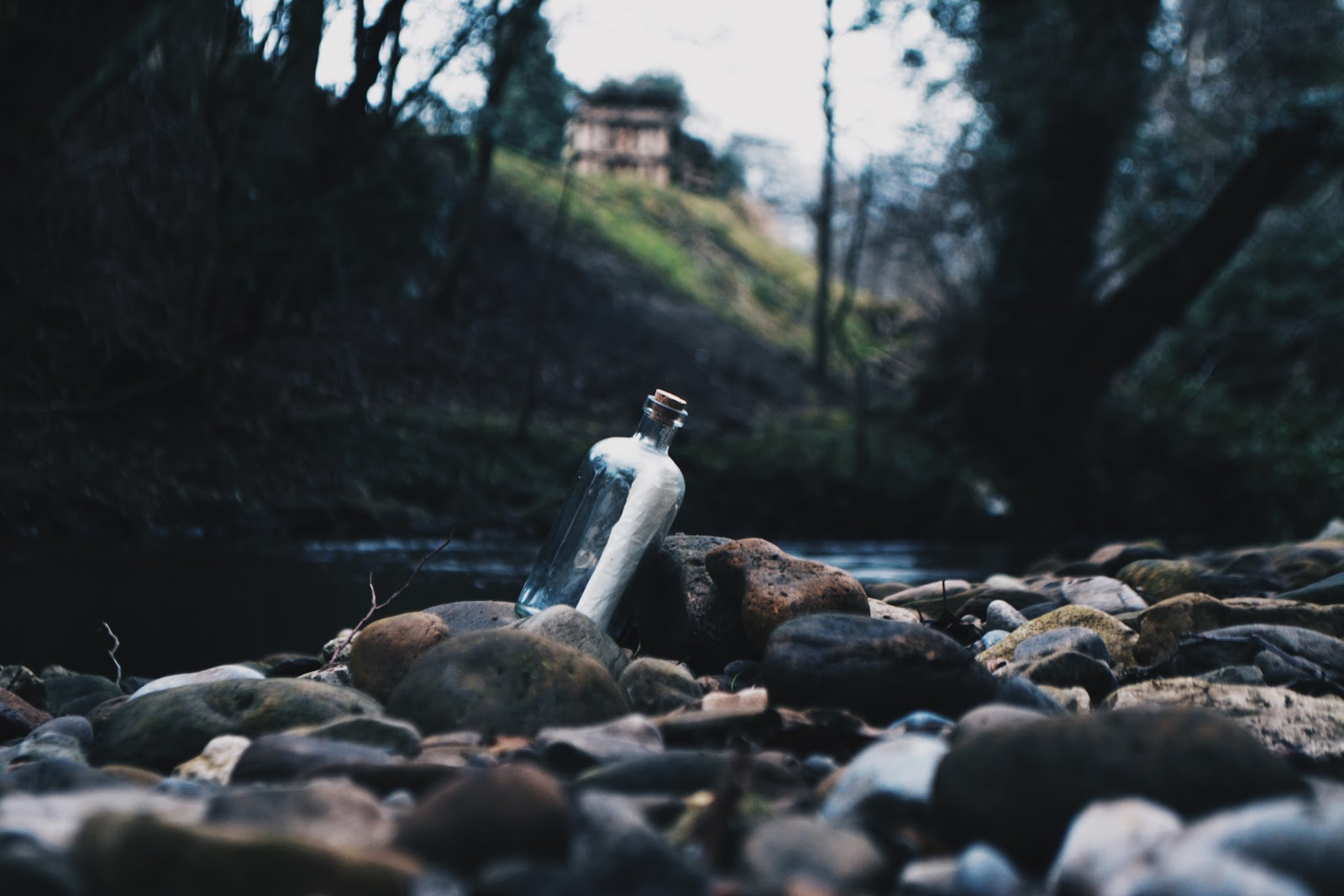photo of a bottle with a paper inside it placed on a riverbed recreating the idea of a message in a bottle