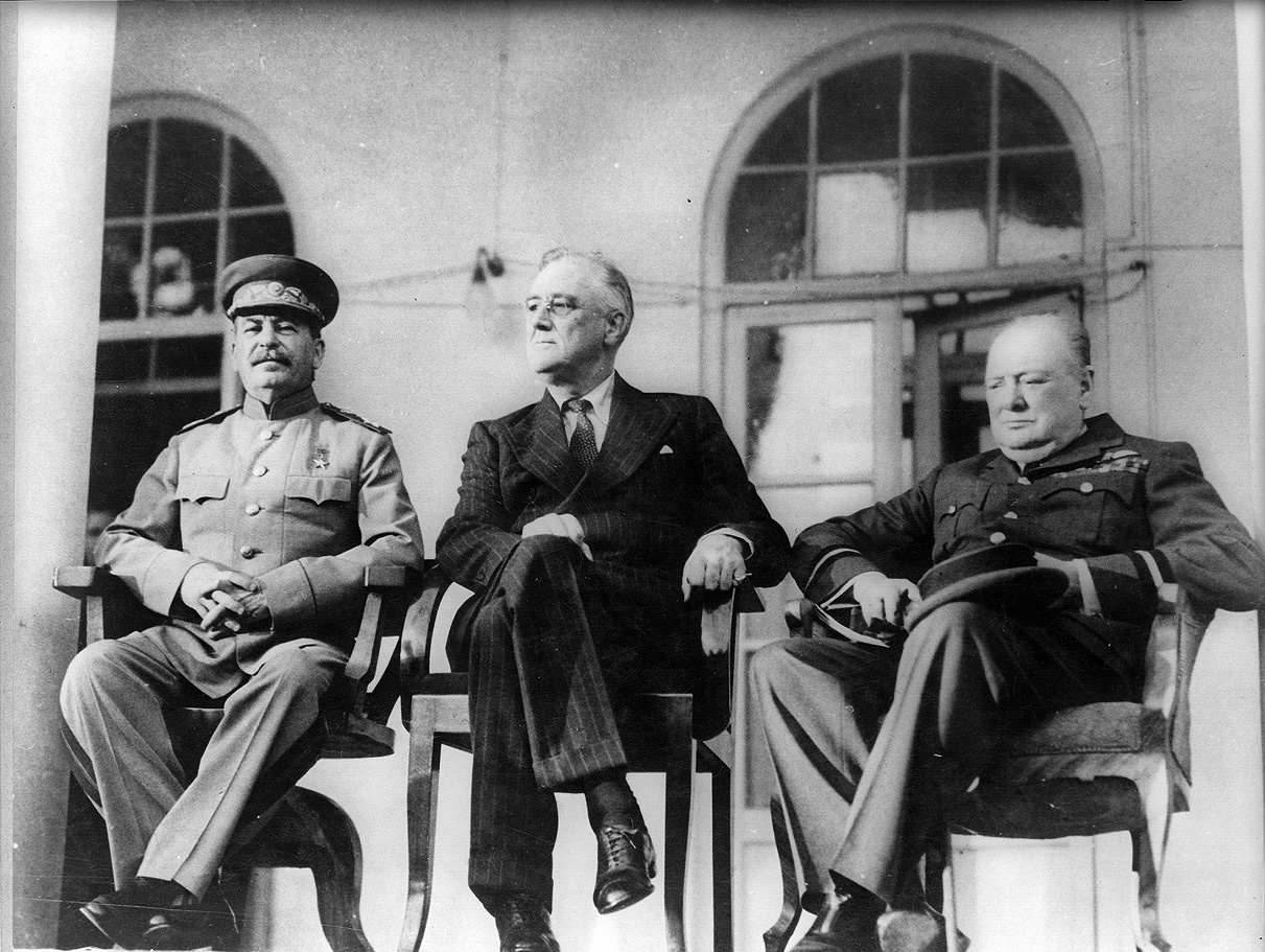 Stalin, Roosevelt, and Churchill during their meeting.