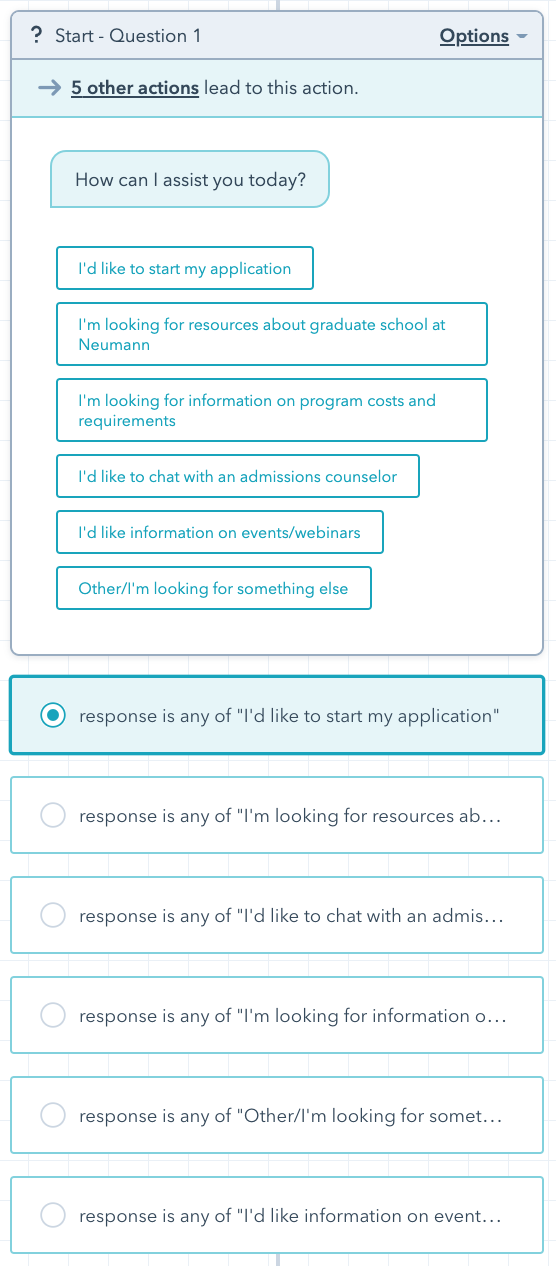 lead-in questions in the Hubspot chatbot builder tool