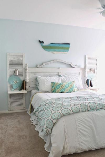 Repurpose old doors to hold a new headboard
