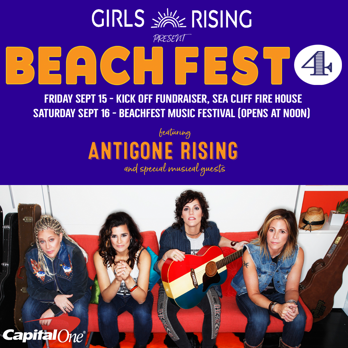 Girls Rising and Capital One Present 4th Annual BeachFest Weekend 9/15-9/16, Sea Cliff NY