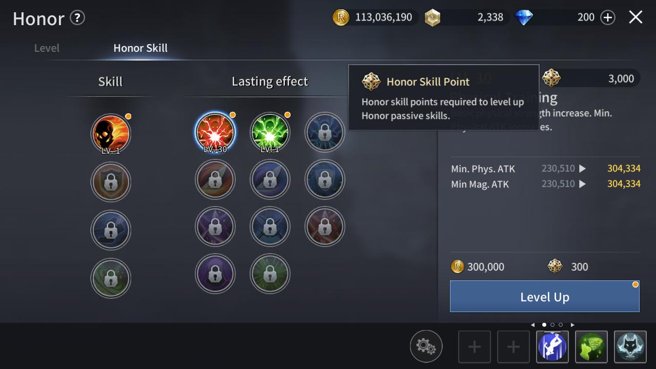 Passive Honor Skills