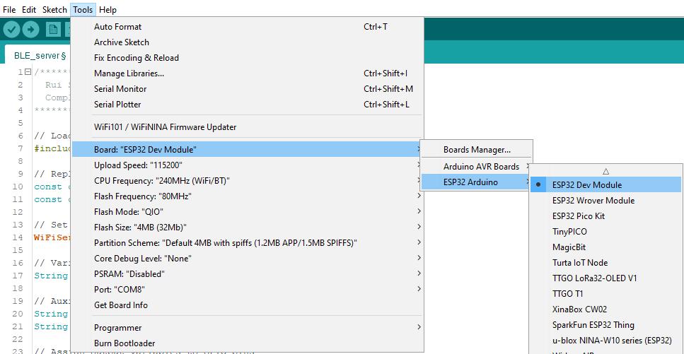 Chọn bảng của bạn trên phần mềm Arduino IDE