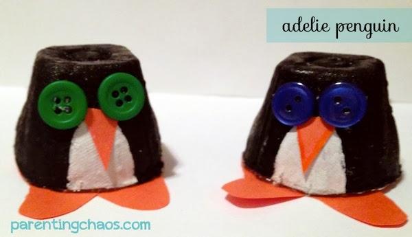 Egg Carton Penguins by Parenting Chaos