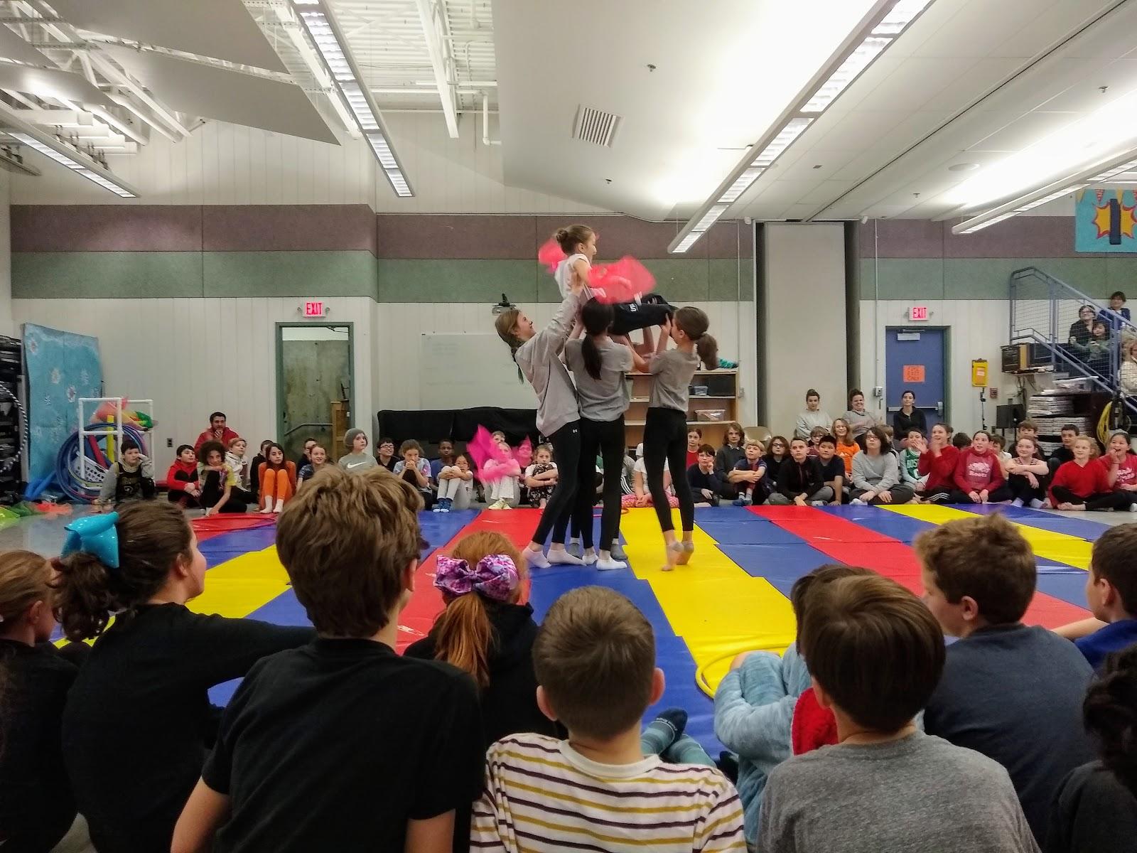 5th grade students tumbling show