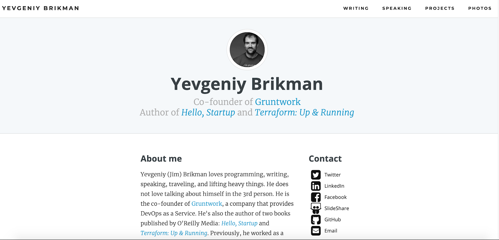 Web Developer Portfolio of Yevgeniy Brikman