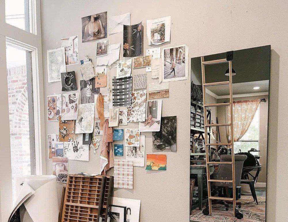 Inspiration wall by Skillshare teacher Hope Johnson.