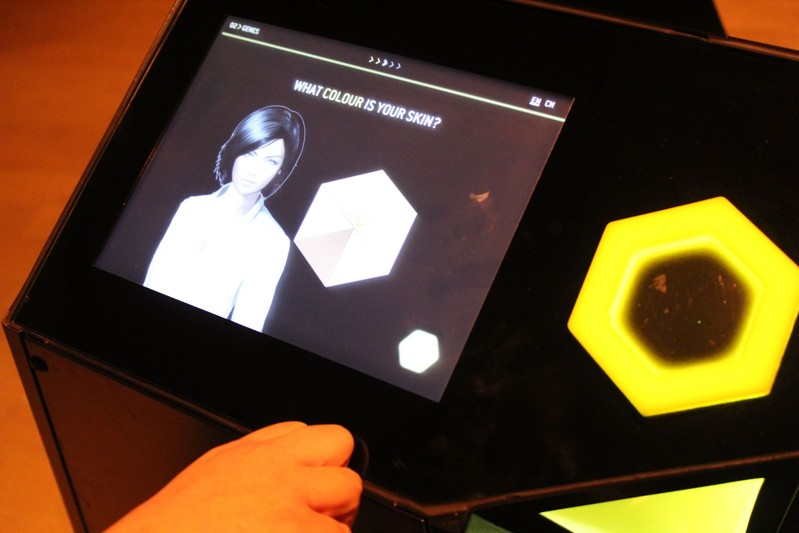 Interactive screen with the character creation menu
