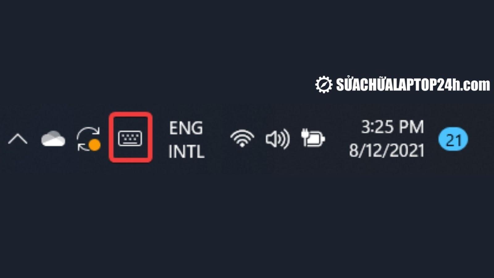 Bạn sẽ thấy biểu tượng bàn phím ảo góc bên phải thanh tác vụ