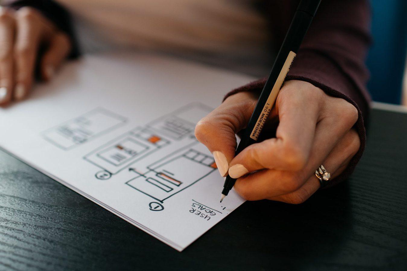 Person writing marketing strategy
