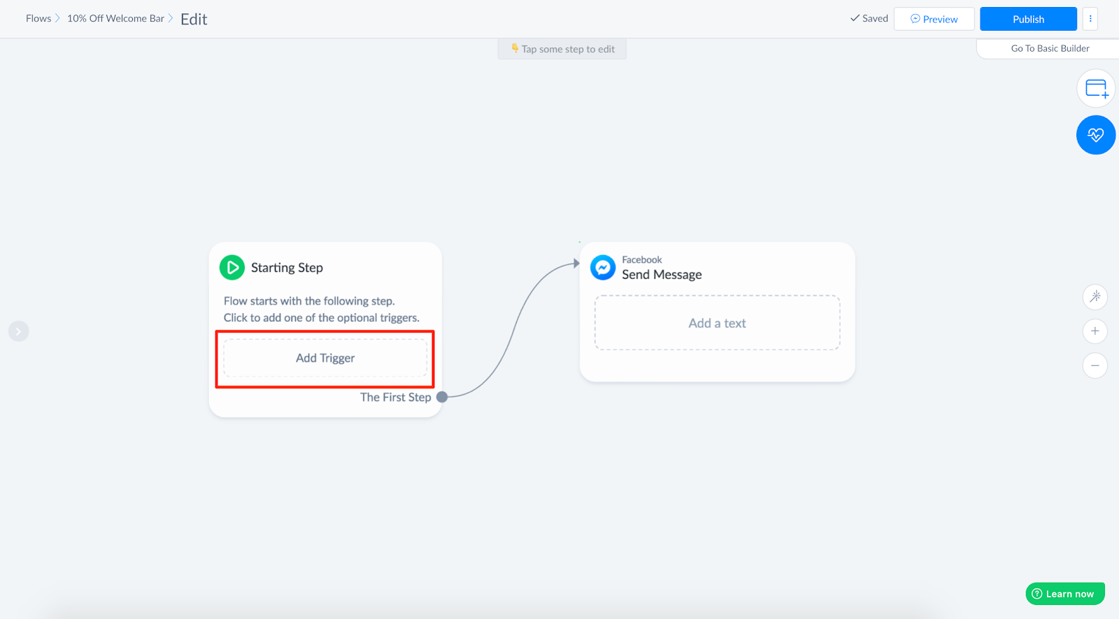Selecting Trigger to start flow in ManyChat Flow Builder
