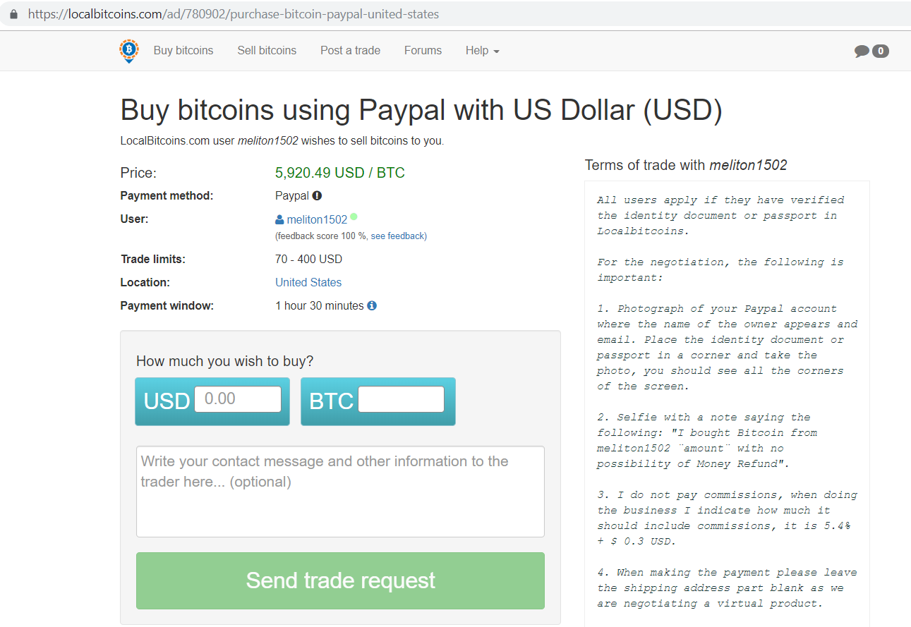 Localbitcoins.com buy bitcoins using Paypal with US dollar screen.