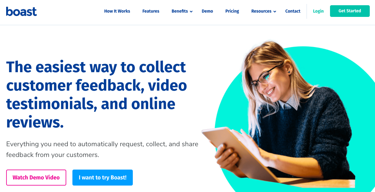 Video testimonial software: Boast