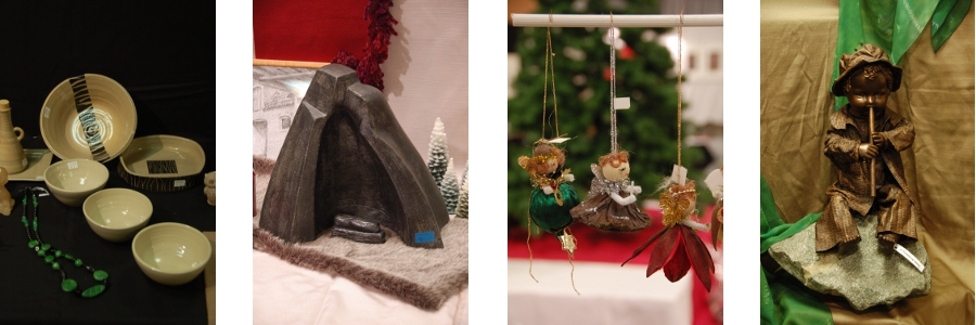 Een selectie van aangeboden werken op de Kerstbazaar