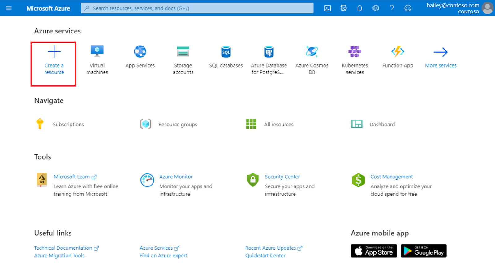 Selecting 'Create a resource' from the home page of the Azure portal