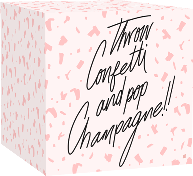 "Image of Greetabl gift with wording, ""Throw Confetti and Pop Champagne!!"""