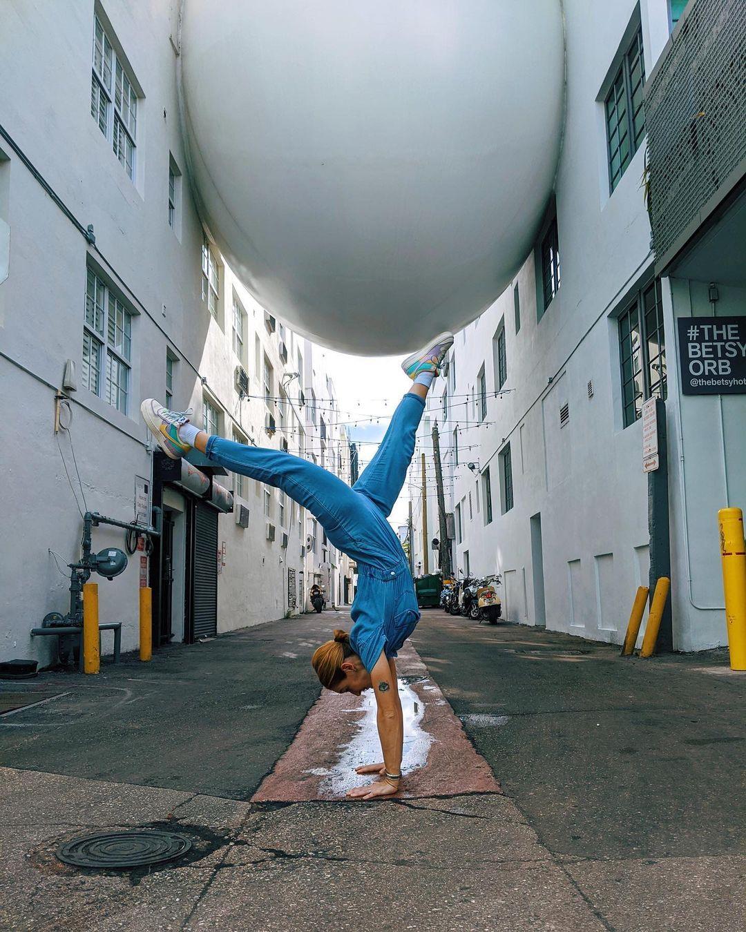a man doing a cartwheel