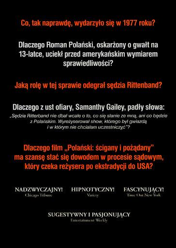 Tył ulotki filmu 'Polański: Ścigany i Pożądany'