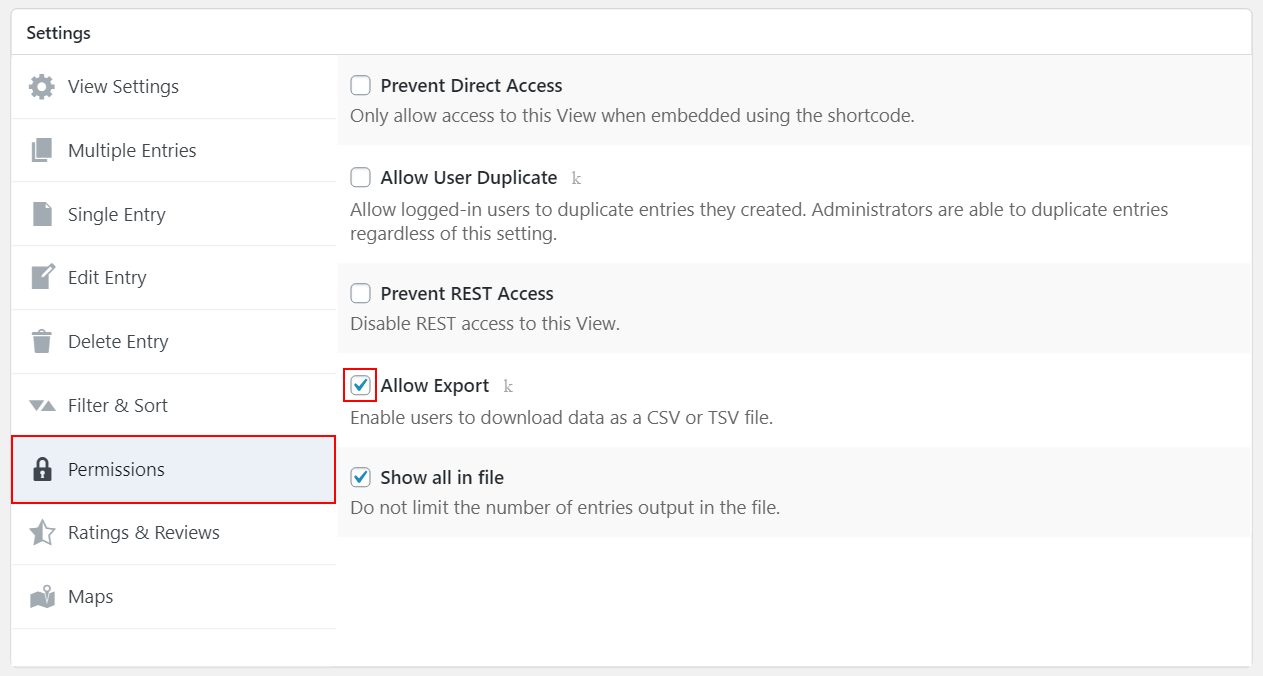 Allow Export setting in GravityView