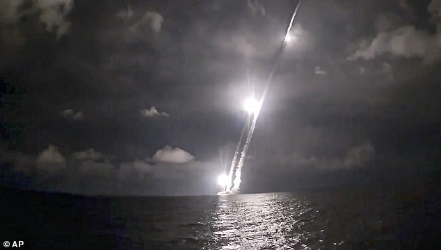 While Air Force officials declined to say exactly what triggered the alarm, the likely cause was the Russia missile test, which saw Russian President Vladimr Putin test-fire four intercontinental ballistic missiles from a submarine (pictured)