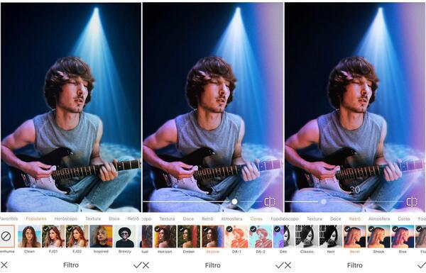 Foto de um homem tocando guitarra, agora em um fundo com luz azul sendo editada pelo AirBrush com a ferramenta Filtro