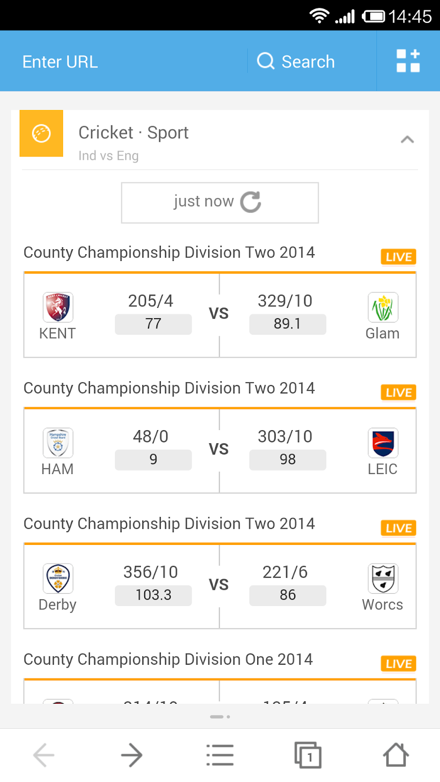 Never miss a game with UC Browser - UC Cricket updated with a match