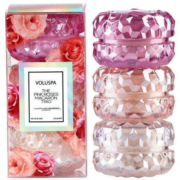 Roses Macaron Trio - Roses 3 Macaron Candle Gift Set - 1