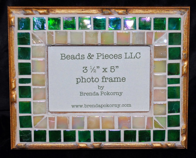 Ornate Gold & Emerald Teal 3 1/2 x 5 Mosaic Photo Frame MOF1378