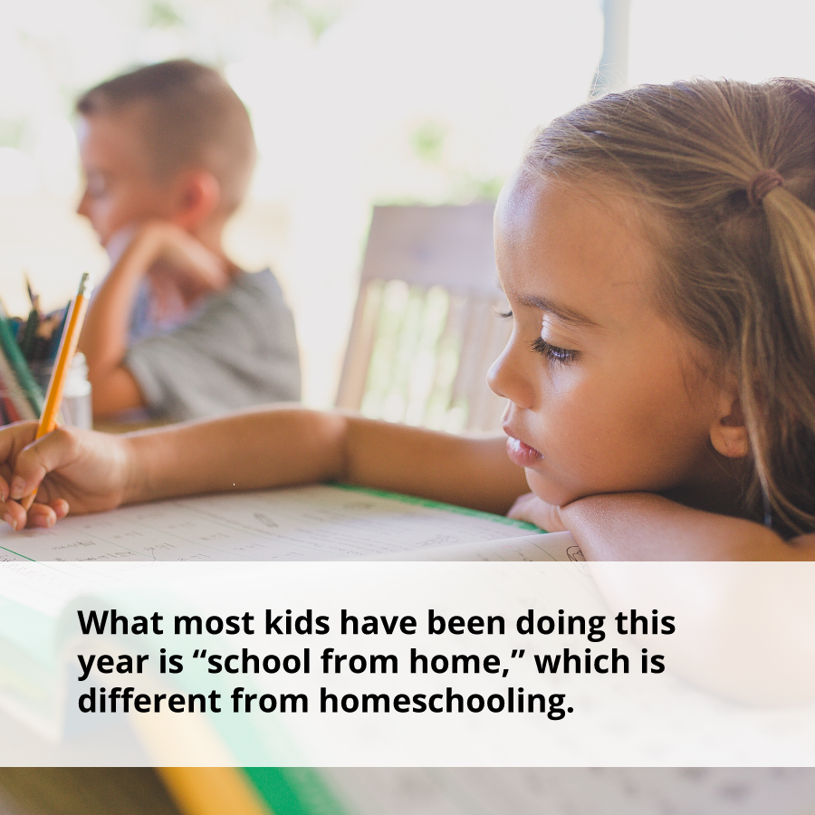 What is Homeschooling? What most kids have been doing this year is school from home which is different from homeschooling