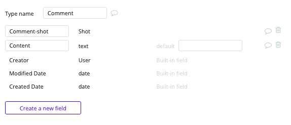 Comment data type in Dribbble's no-code clone