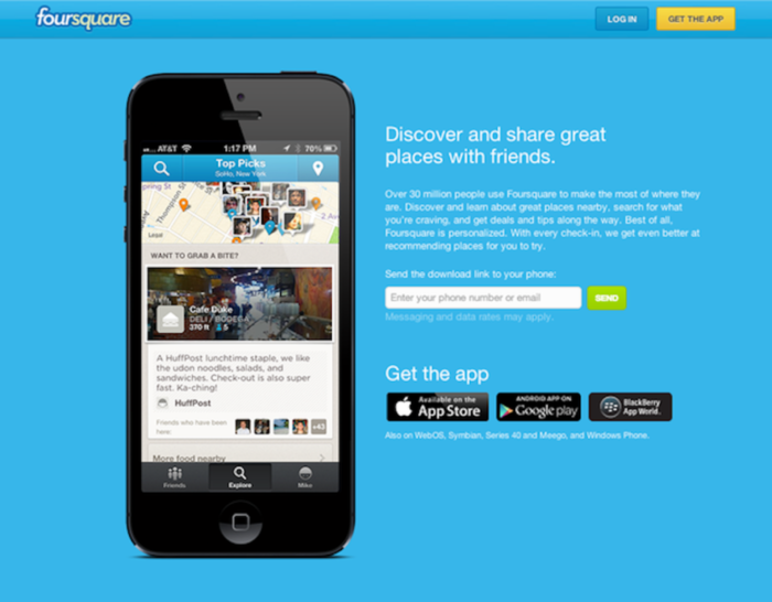 Foursquare - links to the mobile app store or marketplace