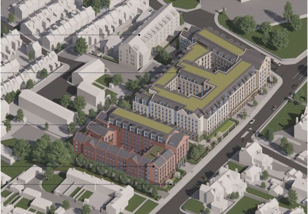 Artist impression of the proposed student flats and co-living development for the former Magistrates' Court and police station site in Exeter