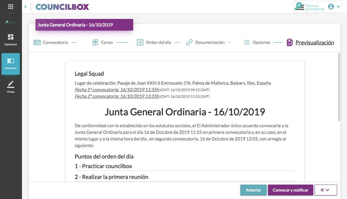 Convocatoria definitiva en Councilbox