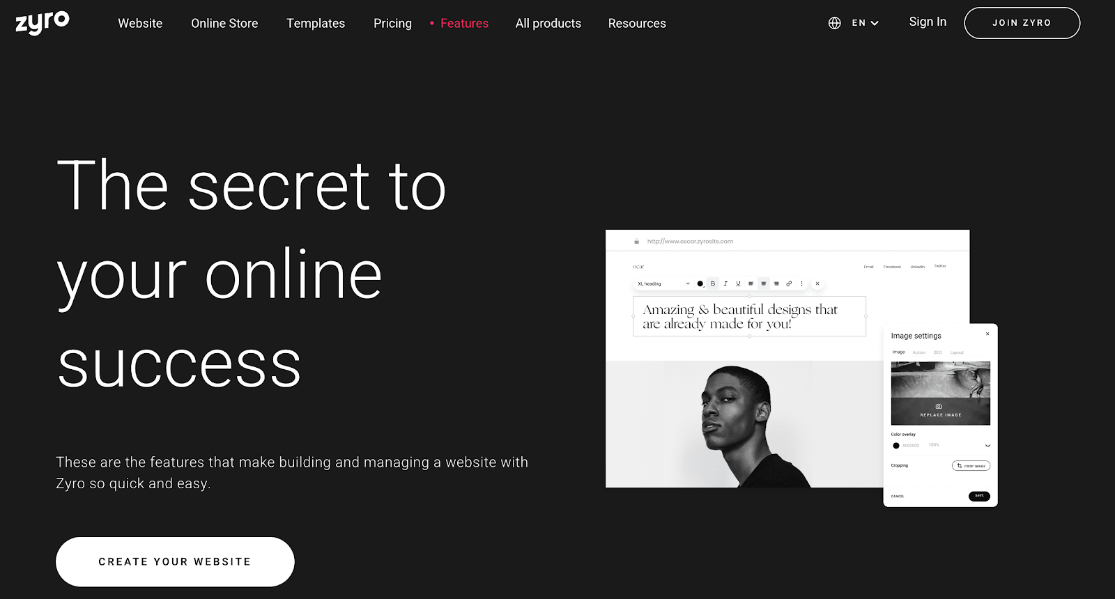 Zyro is another Squarespace alternative