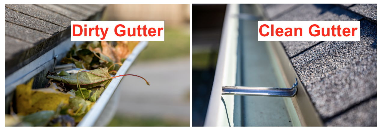 dirty gutter vs. clean gutter