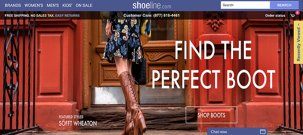 Example of a Shoeline's homepage