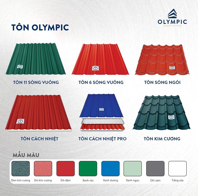 Tôn Olympic đa dạng mẫu mã, màu sắc