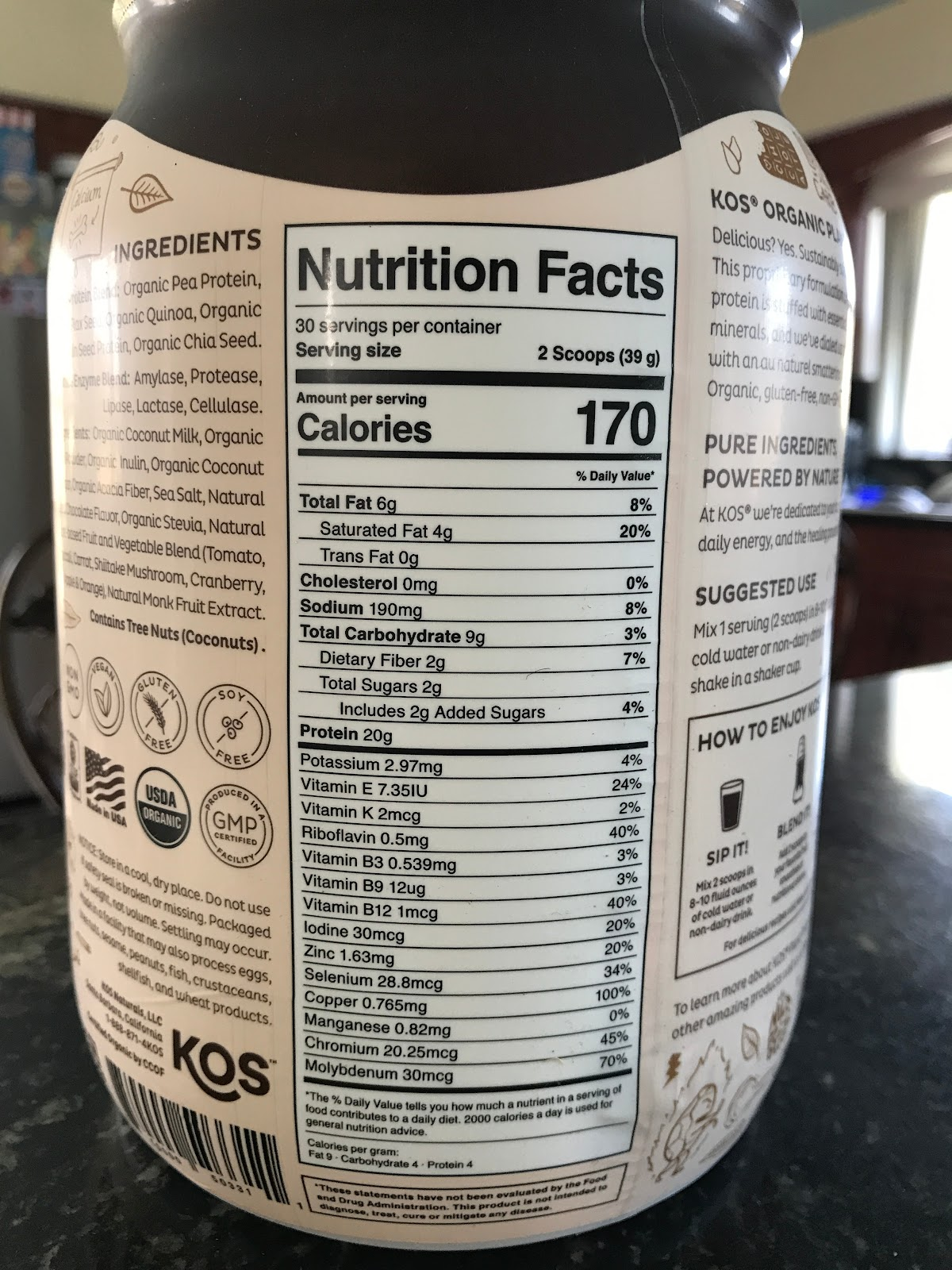 KOS Organic Plant Protein nutrition facts.