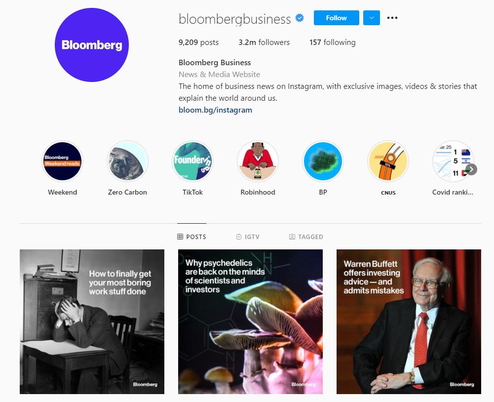 Bloomberg Business Instagram profile