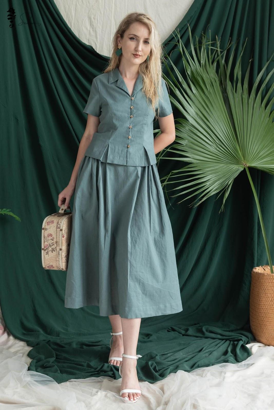 Chân váy vải đũi - linen