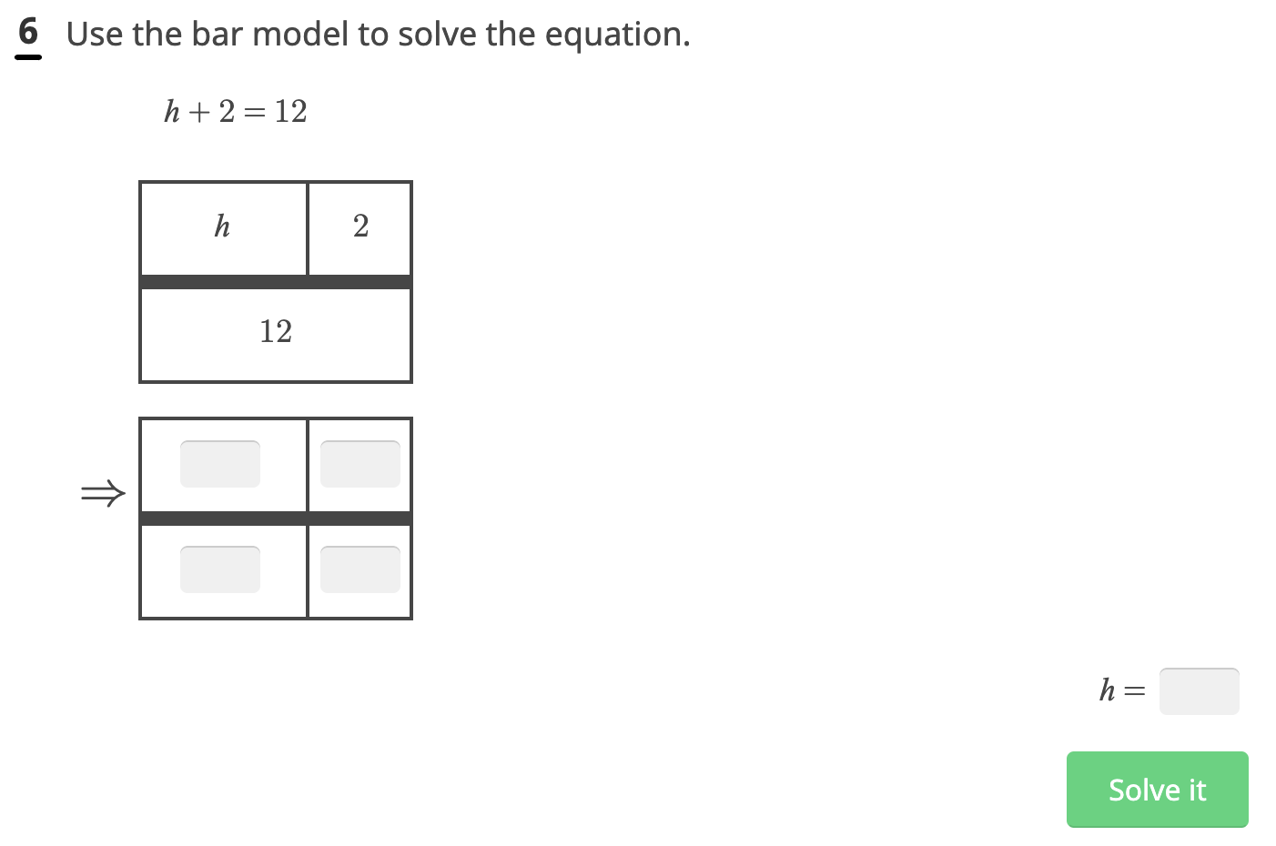 Sample problem which depicts the use of bar model to solve problems on Knowre Math.
