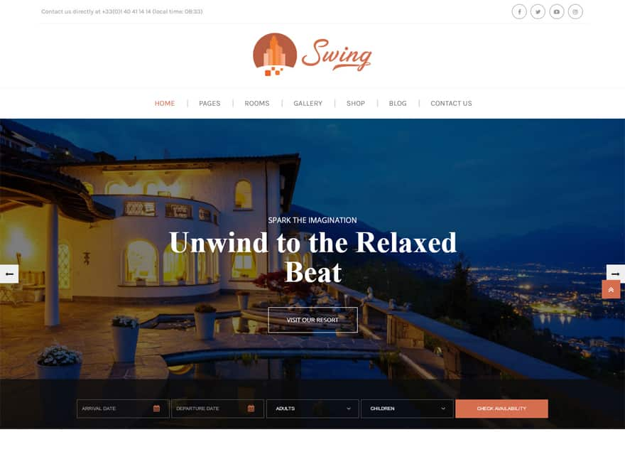 Swing - WordPress Hotel and Resort Themes