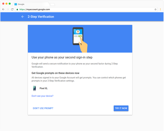 Google Prompt - screenshot of second sign-in step
