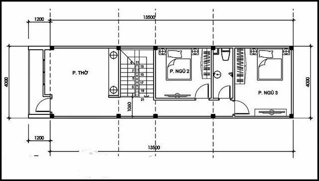 Bản vẽ mặt bằng tầng 2 mẫu nhà ống 2 tầng mặt tiền 4m