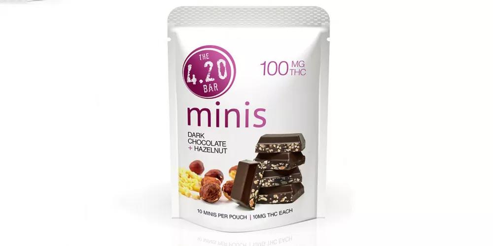 The best fall treats - mini dark chocolate hazelnut bars from Tacoma dispensary World of Weed