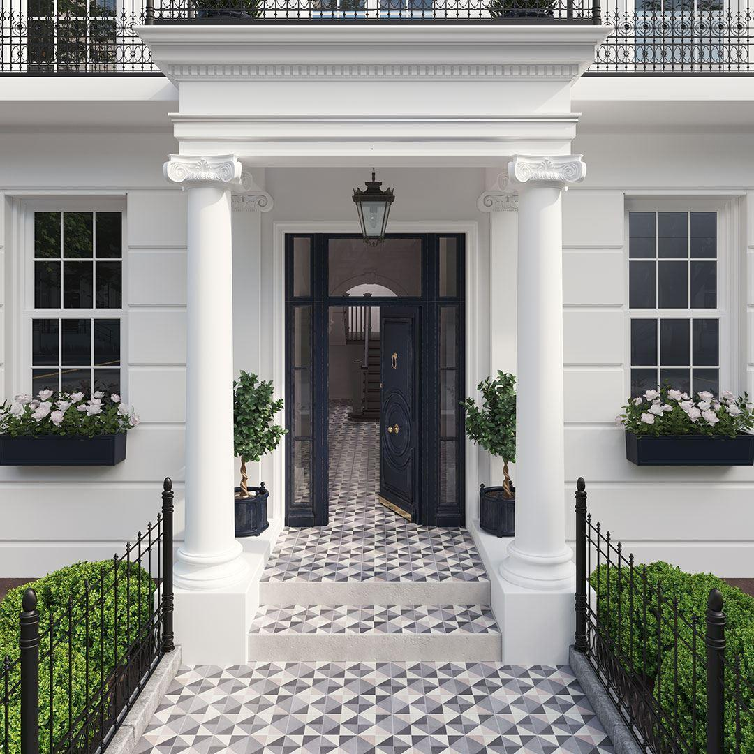 Patterned tiles for outdoor spaces