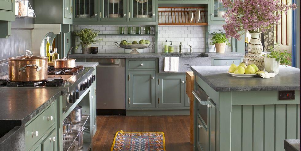 Szürkészöld vintage konyha berendezés