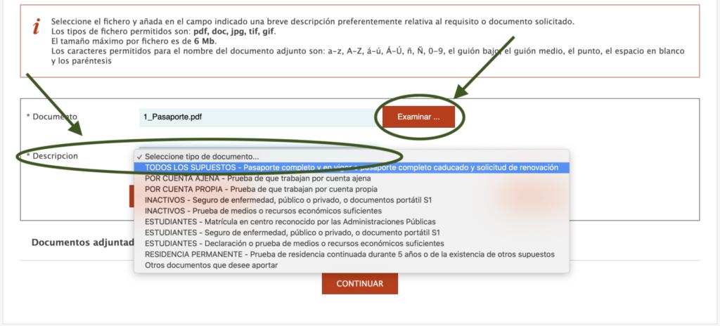 Subir documentación - Elegir categoría