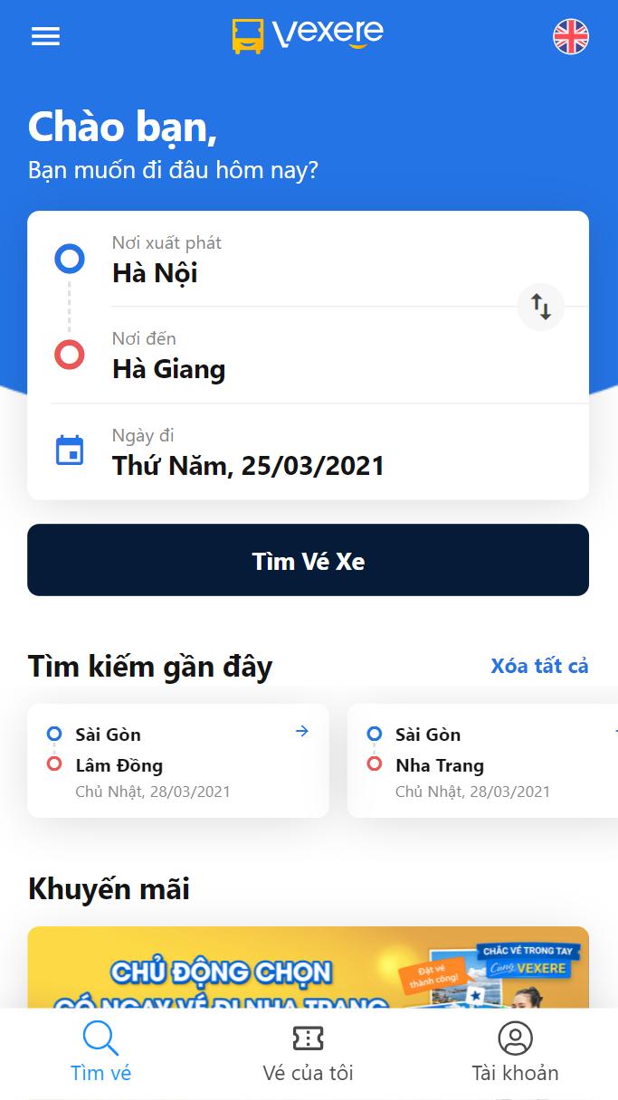 Chọn điểm đi/ điểm đến là Hà Nội - Hà Giang