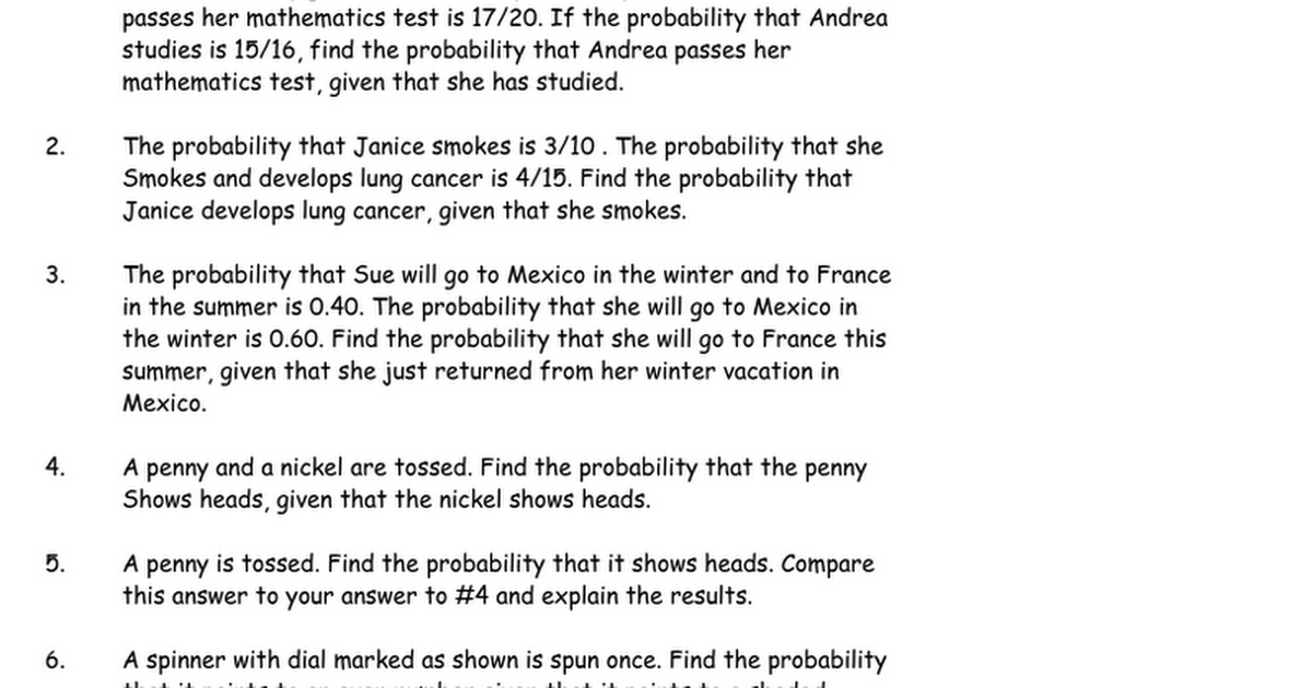 Conditional Probability Worksheet Google Docs – Conditional Probability Worksheet